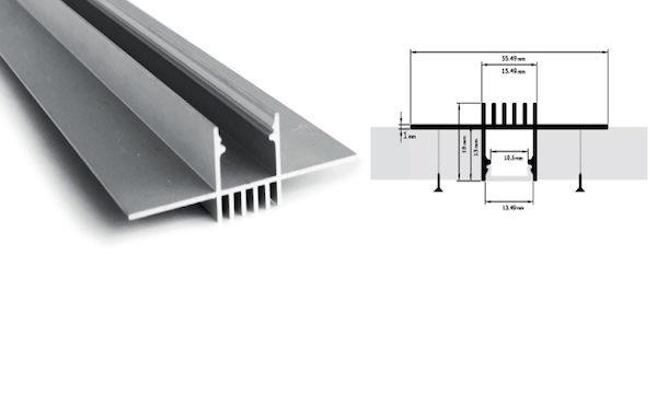 Profilo in alluminio anodizzato - ad incasso a scomparsa - PR220
