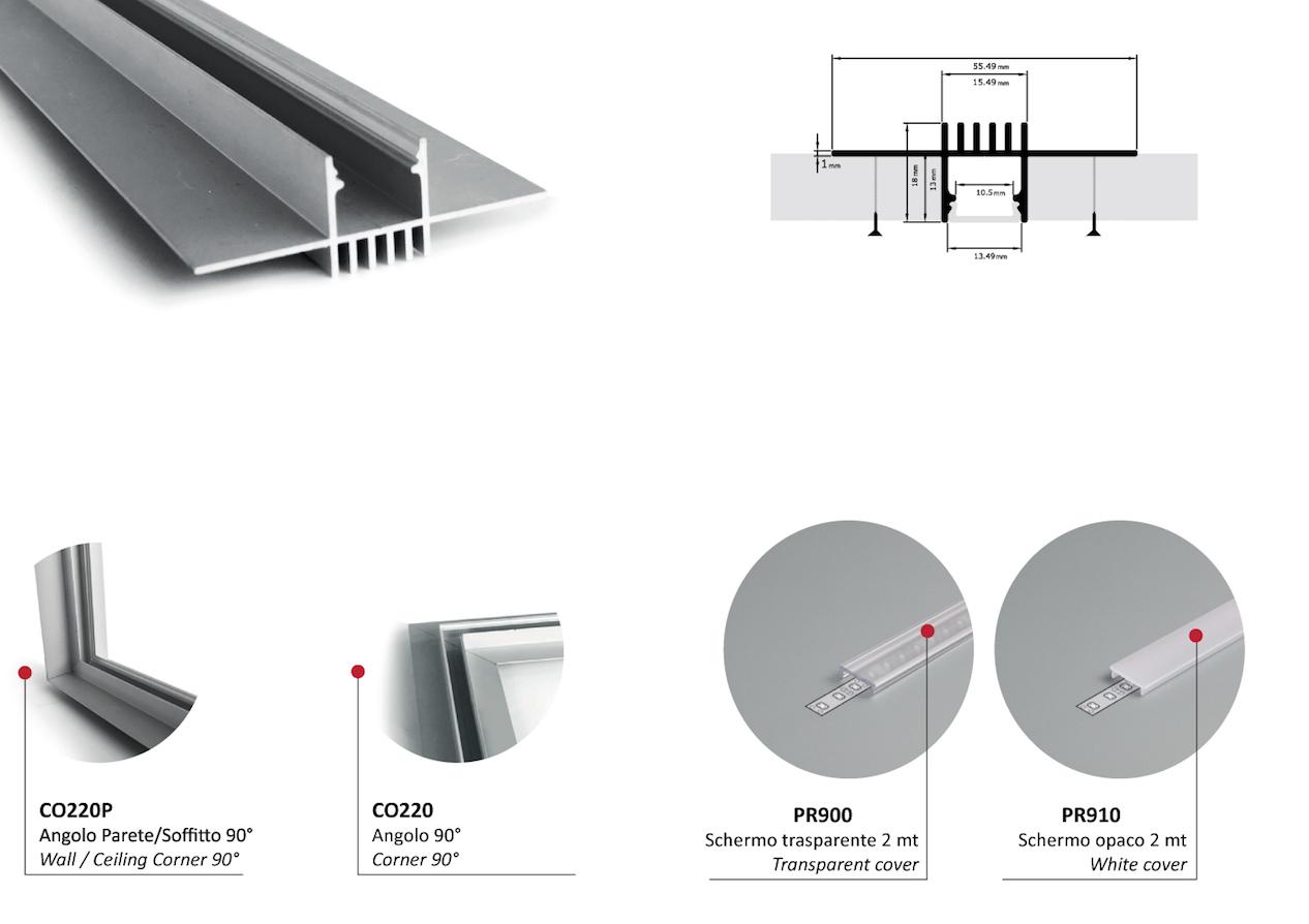 Profilo In Alluminio Anodizzato Ad Incasso A Scomparsa Pr220