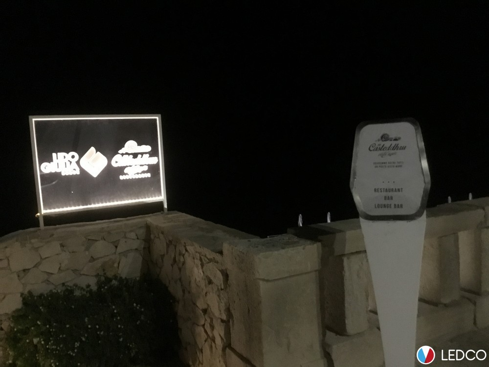 Illuminazione insegna lido giulia leuca ledco italia