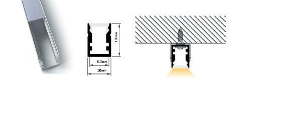 Profilo miniaturizzato installazioni superifici piane - PR113