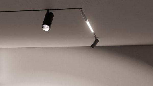 foto di soffitto con binario magnetico 48v incasso a scomparsa
