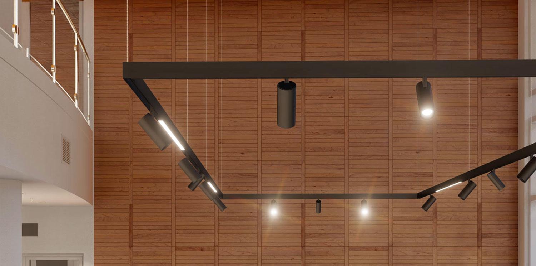 foto del binario magnetico a sospensione in un ufficio