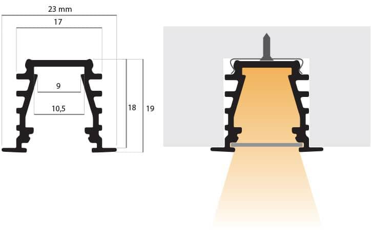 disegno tecnico del profilo ad incasso PR210, misure: larghezza 23mm, altezza 19mm, profondità 2 metri