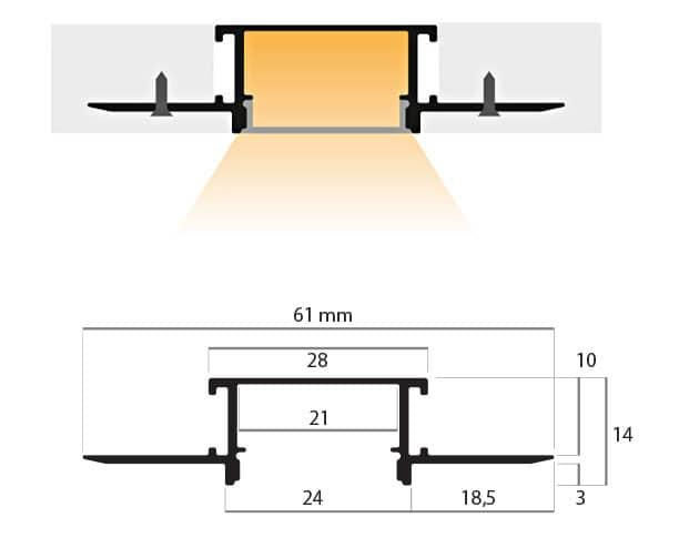 disegno tecnico del profilo ad incasso a scomparsa PR225, misure: larghezza 61mm, altezza 14mm, profondità 2 metri