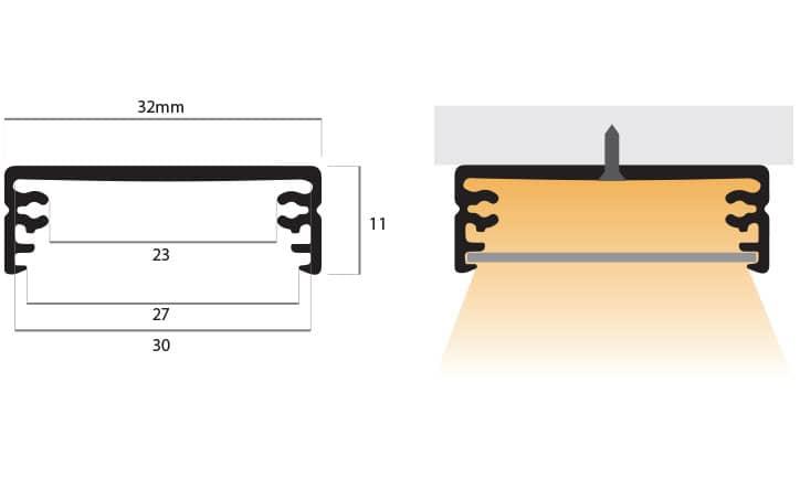 disegno tecnico del profilo per superfici piane PR130, misure: larghezza 32mm, altezza 11mm, profondità 2 metri