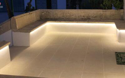 Illuminazione panchina in pietra Leccese – villa privata (LE)