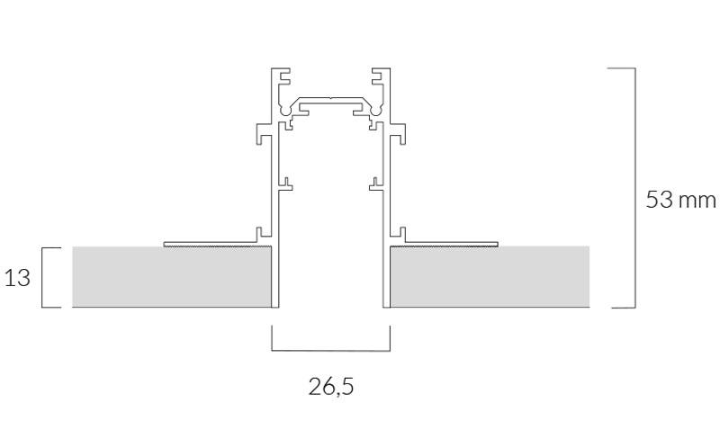 foto del binario magnetico 48v incasso scomparsa con disegno tecnico