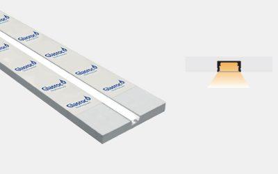 Outdoor aluminum profile pre-recessed in Glasroc – PG110/GR