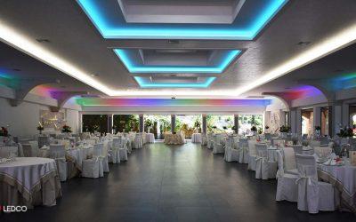 Illuminazione sala ricevimenti con strip LED RGB e RGB DATI
